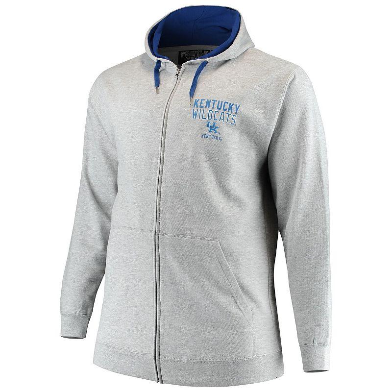 Men's Heathered Gray/Royal Kentucky Wildcats Big & Tall Foundation 2 Full-Zip Hoodie, Size: 4XB, Grey