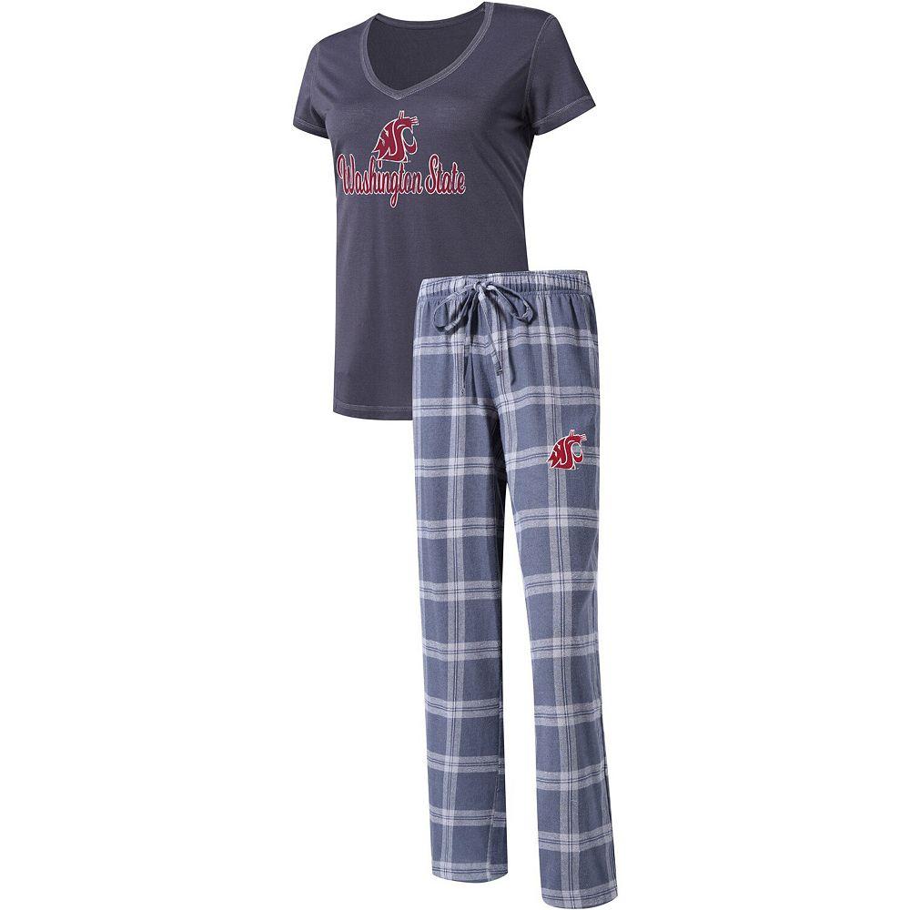 Women's Concepts Sport Charcoal Washington State Cougars Troupe V-Neck T-Shirt & Flannel Pants Sleep Set