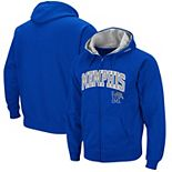 Men's Colosseum Royal Memphis Tigers Wordmark Arch & Team Logo Full-Zip Hoodie