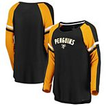 Women's Fanatics Branded Black/Gold Pittsburgh Penguins Flashy Raglan Long Sleeve T-Shirt
