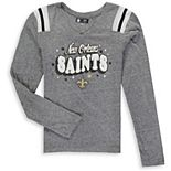 Girls Youth New Era Heathered Gray New Orleans Saints Starring Role Long Sleeve Tri-Blend V-Neck T-Shirt