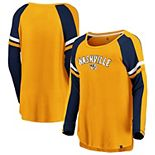 Women's Fanatics Branded Gold/Navy Nashville Predators Flashy Raglan Long Sleeve T-Shirt