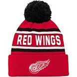 Youth Red Detroit Red Wings Wordmark Cuffed Pom Knit Hat