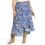 Plus Size East Adeline by Dia&Co High-Low Faux Wrap Maxi Skirt