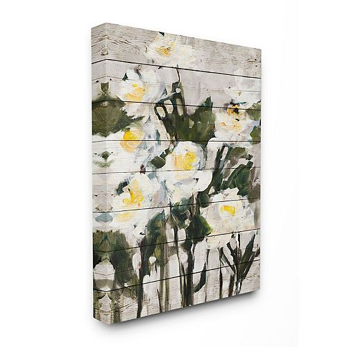 Stupell Home Decor Abstract Wood Panel Flower Painting Wall Art by Jane Slivka