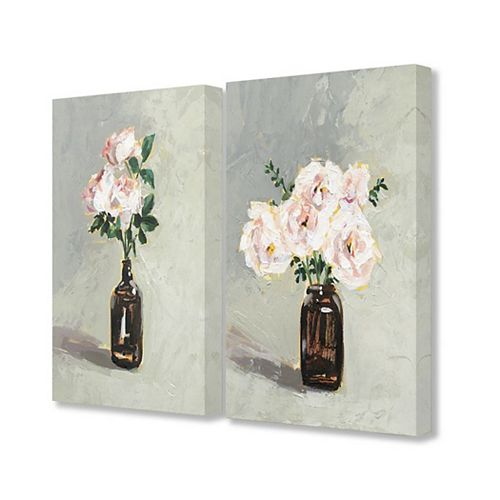 Stupell Home Decor Abstract Pink Green Flowers In Jug Neutral Grey Painting 2 Piece Wall Art Set by Victoria Borges