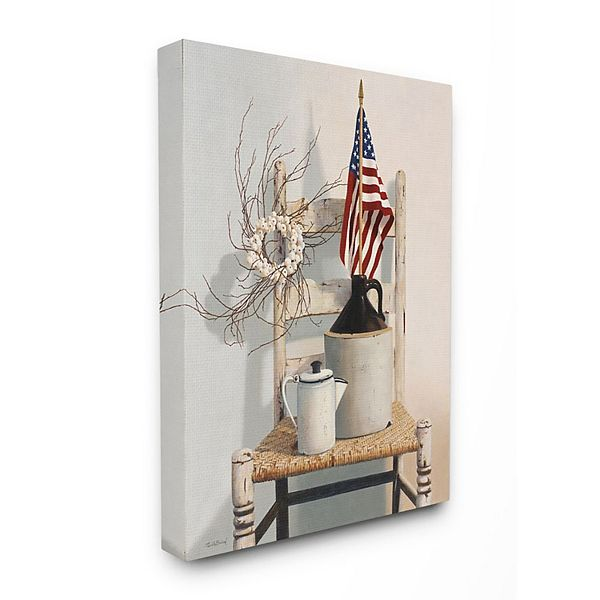 Stupell Home Decor Vintage Rustic Things American Flag Neutral Painting Wall Art By Cecile Baird