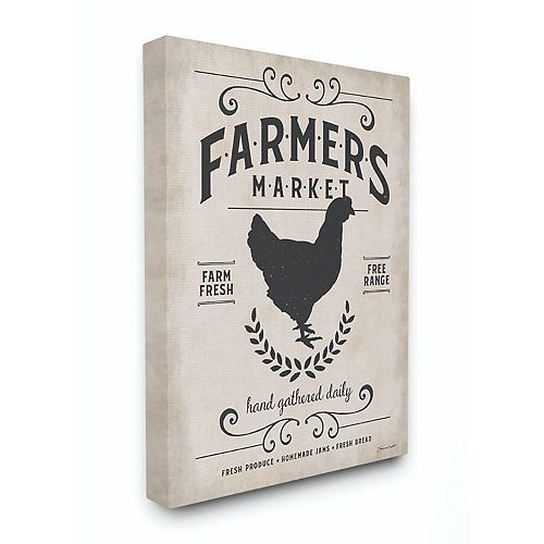 Stupell Home Decor Farmers Market Rooster Animal Rustic Textured Word Design Wall Art by Stephanie Workman Marrott