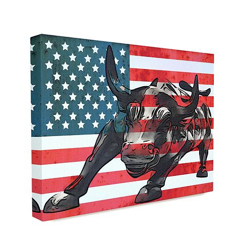 Stupell Home Decor American Flag USA Rustic Bull Design Wall Art by Daniel Sproul