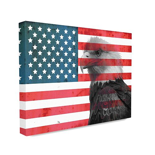 Stupell Home Decor American Flag USA Rustic Bald Eagle Design Wall Art by Daniel Sproul