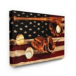 Stupell Home Decor Vintage American Flag Baseball Stretched Canvas Wall Art