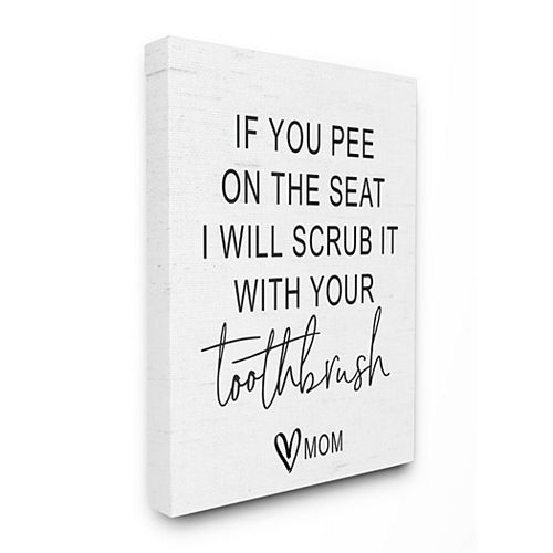 Stupell Home Decor Pee On Seat Funny Word Bathroom Black And White Design Oversized Wall Art by Lettered and Lined