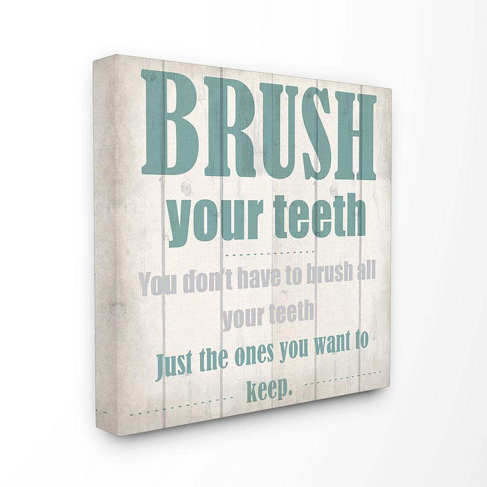 Stupell Home Decor Brush Your Teeth Funny Word Bathroom Wood Textured DesignWall Art by Kimberly Allen