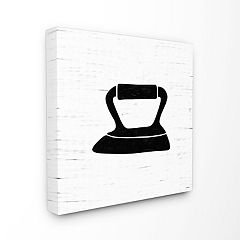 Stupell Home Decor Iron Laundry Bathroom Black And White Design Wall Art by Gigi Louise