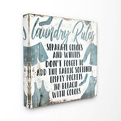 Stupell Home Decor Laundry Rules Bathroom Wood Wall Art