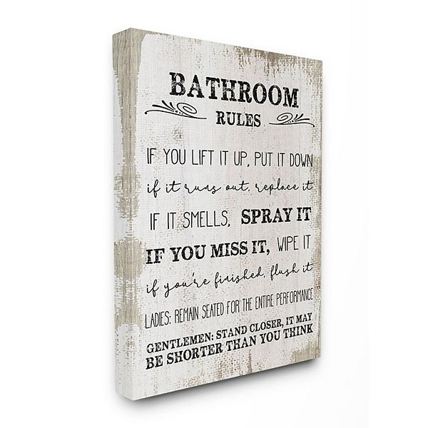 Stupell Home Decor Bathroom Rules Funny Word Wall Art