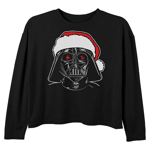 Girls Star Wars Santa Darth Vader Sketch Christmas Tee