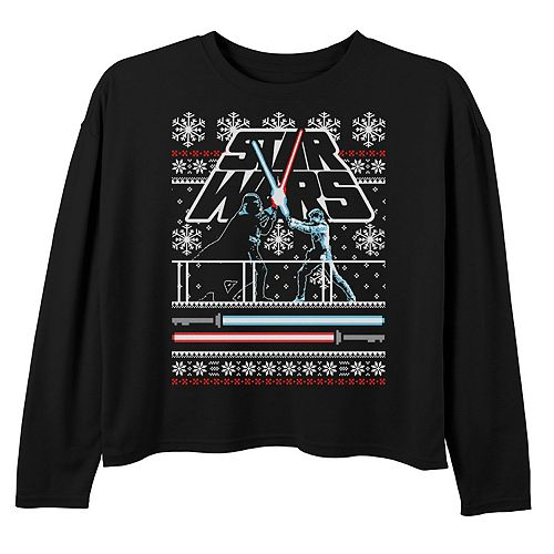 Girls 7-16 Star Wars Luke & Vader Duel Ugly Sweater Long Sleeve Graphic Tee