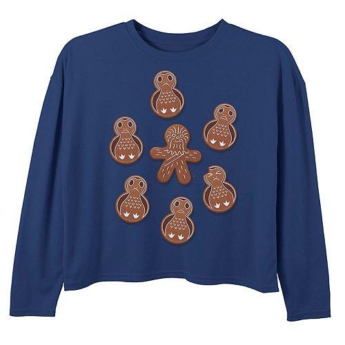 Girls 7-16 Star Wars Chewie & Porg Gingerbread Cookies Christmas Tee