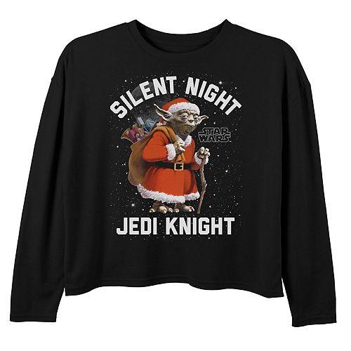 Girls 7-16 Star Wars Yoda Silent Night Jedi Knight Long Sleeve Tee