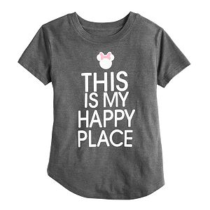 """Disney's Minnie Mouse Girls 4-6X """"Happy Place"""" Graphic Tee by Family Fun"""