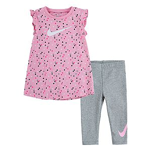 Baby Girls Nike Polka Dot Flutter Sleeve Top & Leggings 2-Piece Set