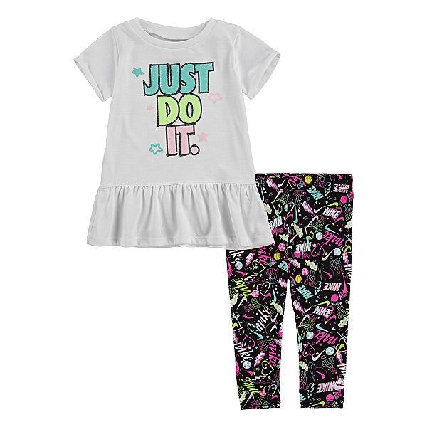 Baby Girl Nike Dri Fit Graphic Peplum Tee Capri Leggings Set