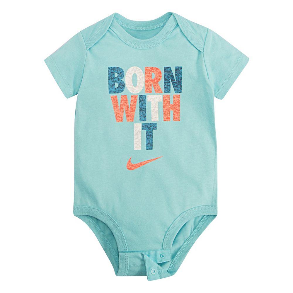 "Baby Nike ""Born With It"" Short Sleeve Bodysuit"
