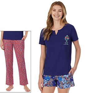 Women's Cuddl Duds® 3-Piece Pajama Top, Pajama Pants & Pajama Shorts Set