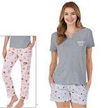 Women's Cuddl Duds® 3-Piece Pajama Top, Pajama Pants & Pajama Shorts Set