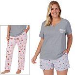 Plus Size Cuddl Duds® 3-Piece Pajama Top, Pajama Pants & Pajama Shorts Set