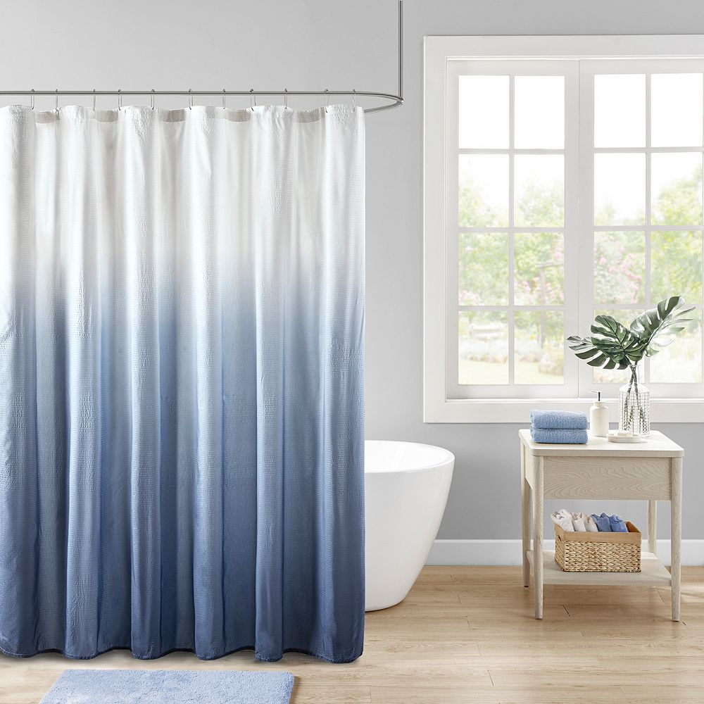 Madison Park Loire Ombre Printed Seersucker Shower Curtain