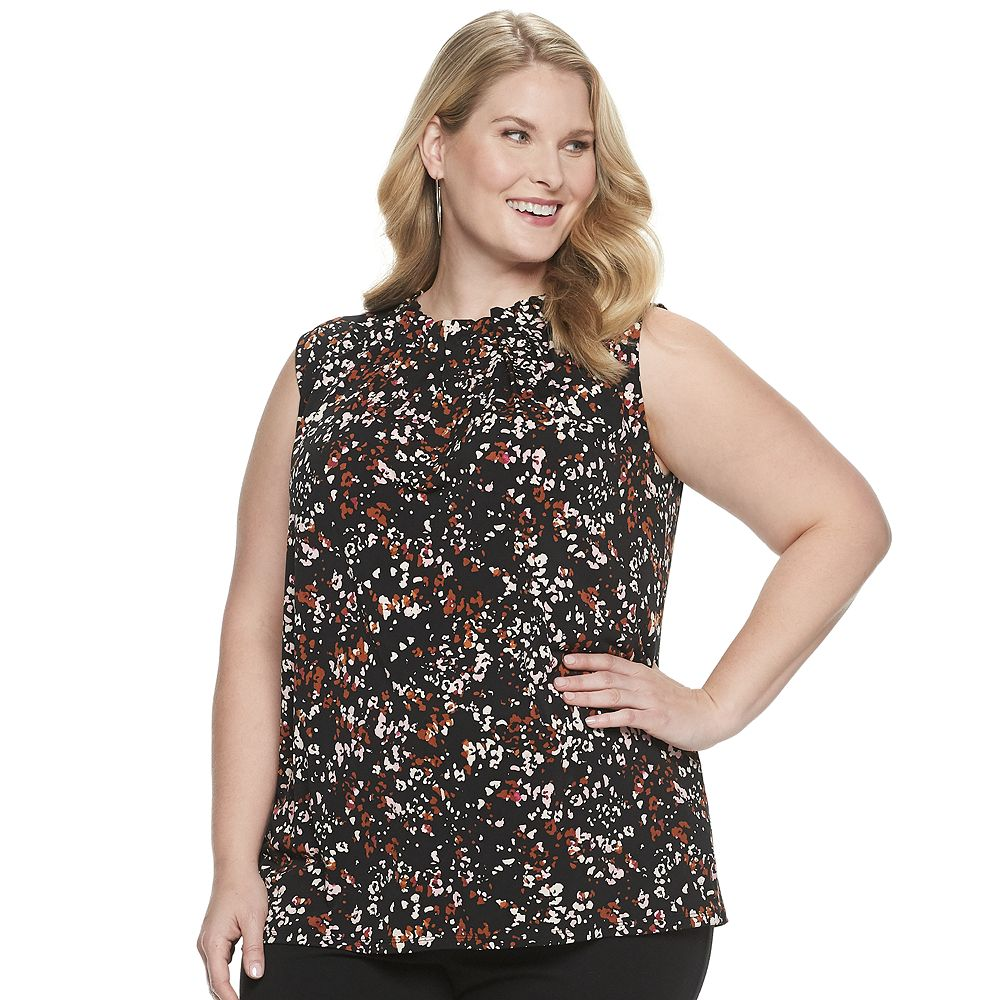 Plus Size Croft & Barrow® Ruched Neck Sleeveless Top