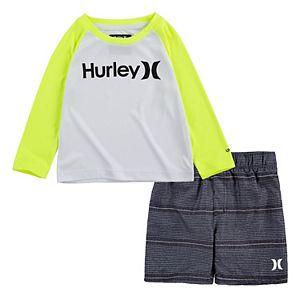 Toddler Boy Hurley UPF 50+ Raglan Rash Guard Top & Swim Trunks Set
