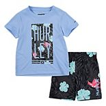 Toddler Boy Hurley Tropical UPF 50+ Raglan Rash Guard Top & Swim Trunks Set