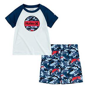 Toddler Boy Hurley Camo UPF 50+ Raglan Rash Guard Top & Swim Trunks Set