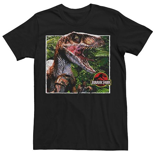 Men's Jurassic Park Raptor Coming Out Of Forest Tee