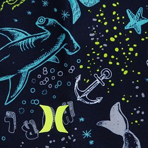Toddler Boy Hurley Sea Life UPF 50+ Raglan Rash Guard Top & Swim Trunks Set