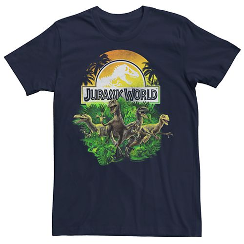 Men's Jurassic Park Distressed Raptor Group Shot Logo Tee