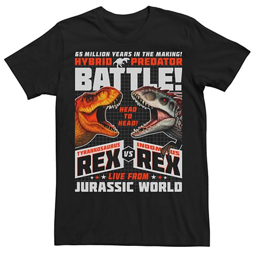 Men's Jurassic World T-Rex VS I-Rex Battle Poster Tee
