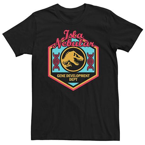 Men's Jurassic World Isla Nebular Gene Dept. Badge Tee