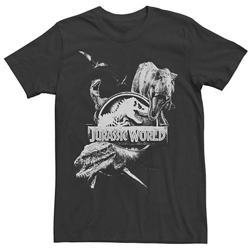 Men's Jurassic World Two Dino Collage Grunge Logo Tee