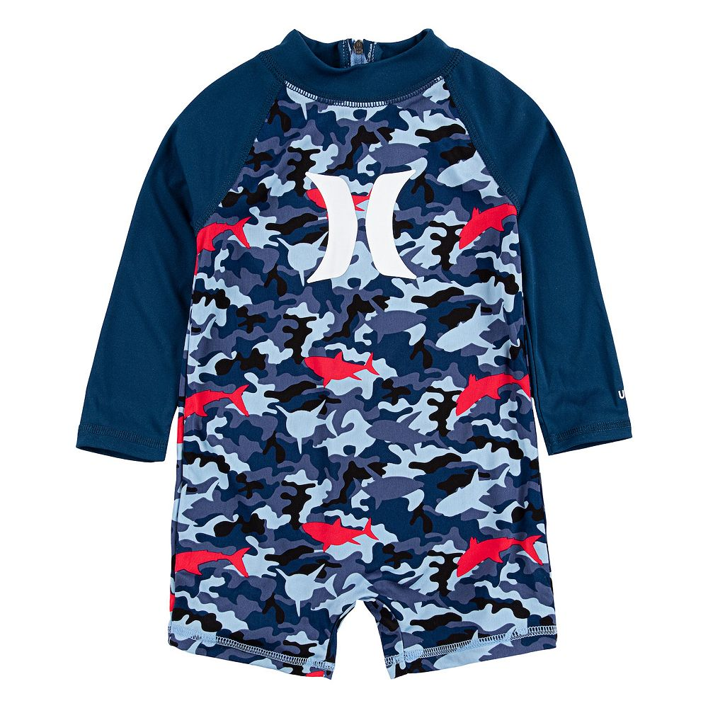 Baby Boy Hurley Dri-FIT UPF 50+ Shark Print Raglan Rash Guard