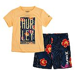 Toddler Boy Hurley UPF 50+ Tropical Graphic Tee & Swim Trunks Set