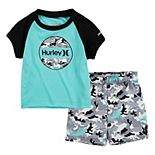 Toddler Boy Hurley UPF 50+ Tropical One & Only Raglan Top & Swim Trunks Set