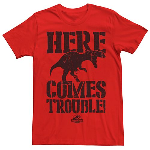 Men's Jurassic Park Here Comes Trouble Tee