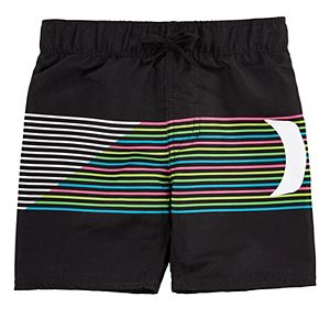 Toddler Boy Hurley Striped Rainbow Swim Trunks