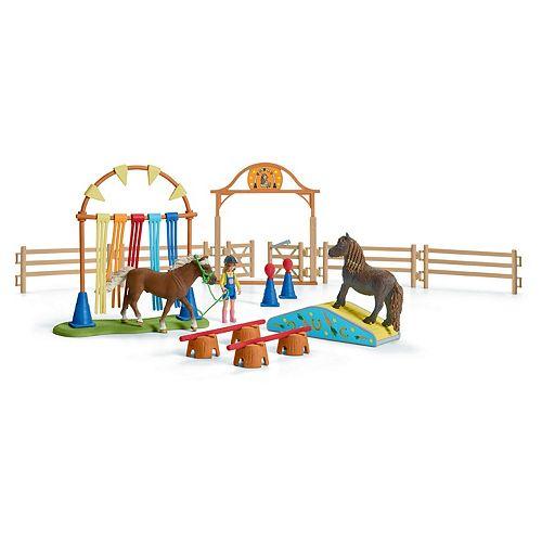 Schleich Farm World Pony Agility Training Center Playset and Toy Figures