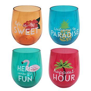 Celebrate Summer Together 4-Piece Palm Stemless Wine Glass Set