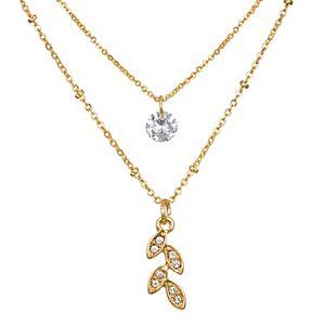 LC Lauren Conrad Pave Leaf & Cubic Zirconia Pendant Necklace Set